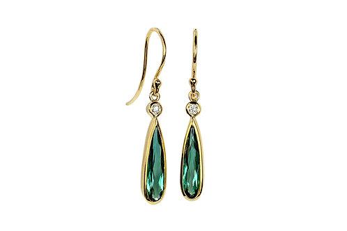 18KY Pear Shaped Tourmaline and Diamond Earrings