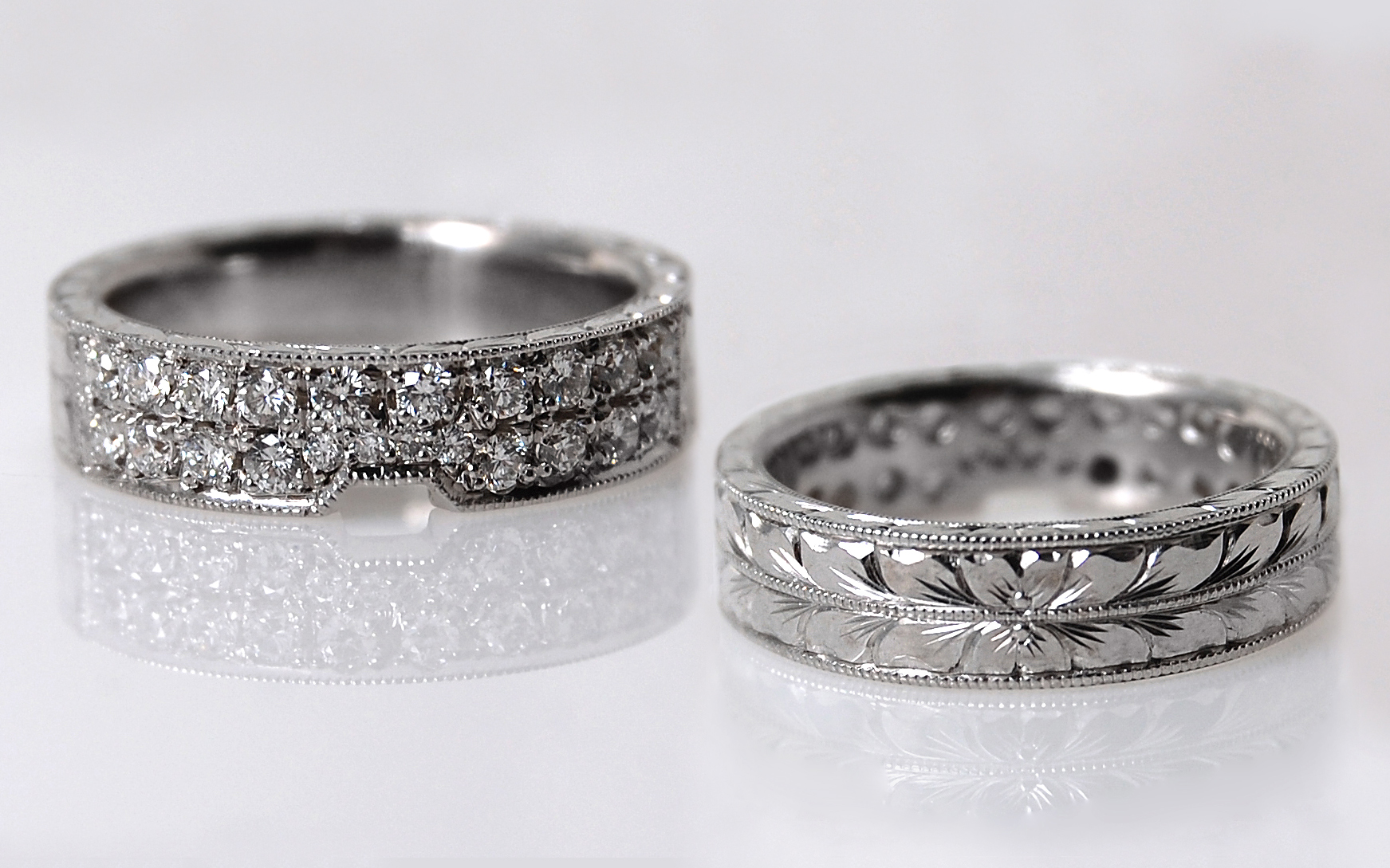 Double Row Bead Set Diamond Hand Engraved Band