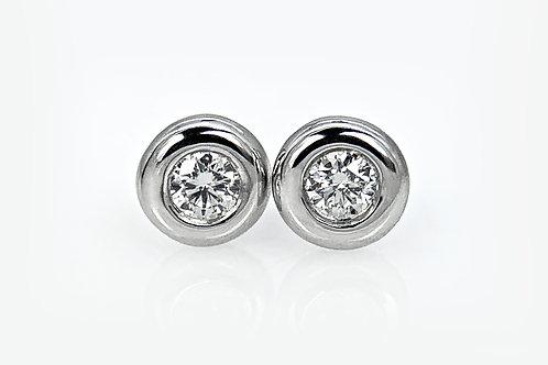 14KW Diamond Doughnut Bezel Stud Earrings