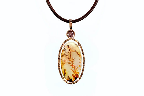 14KR Hand Fabricated Dendritic Agate and Brown Zircon Pendant