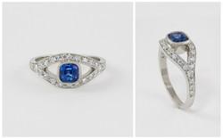 14 KW Cushion Cut Sapphire and Diamond Ring
