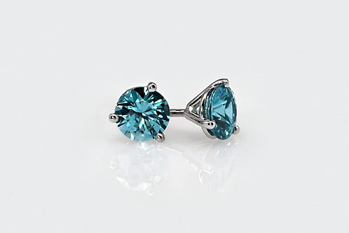 14KW Blue Zircon Martini Stud Earrings