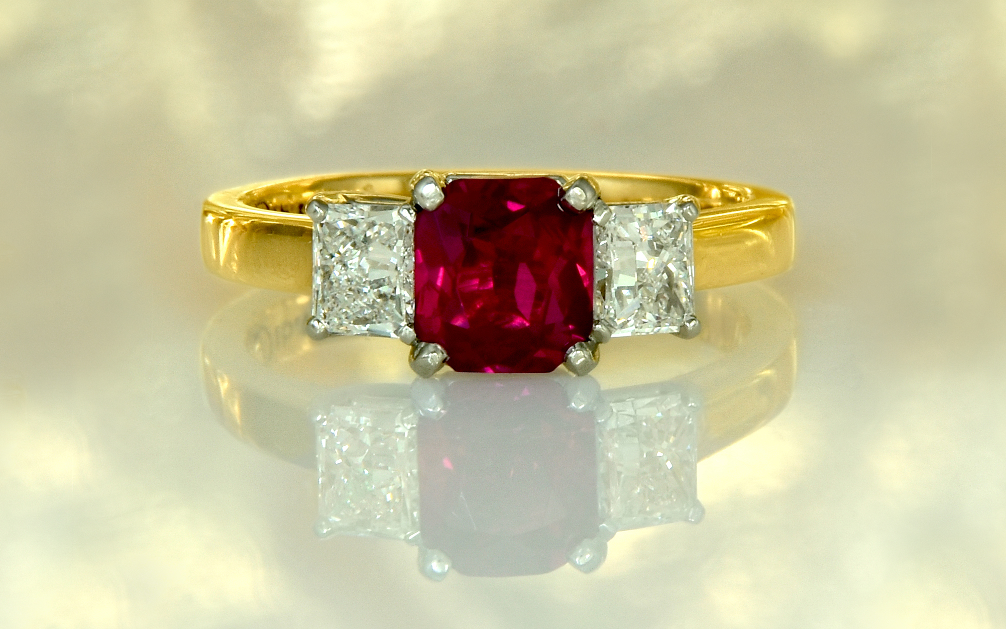18 karat and Platinum Radiant Cut Ruby and Diamond Ring