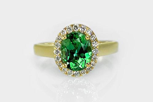 18KY Oval Tourmaline Ring with Diamond Halo