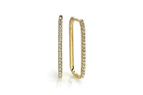 14KY Diamond Elongated Hoop Earrings