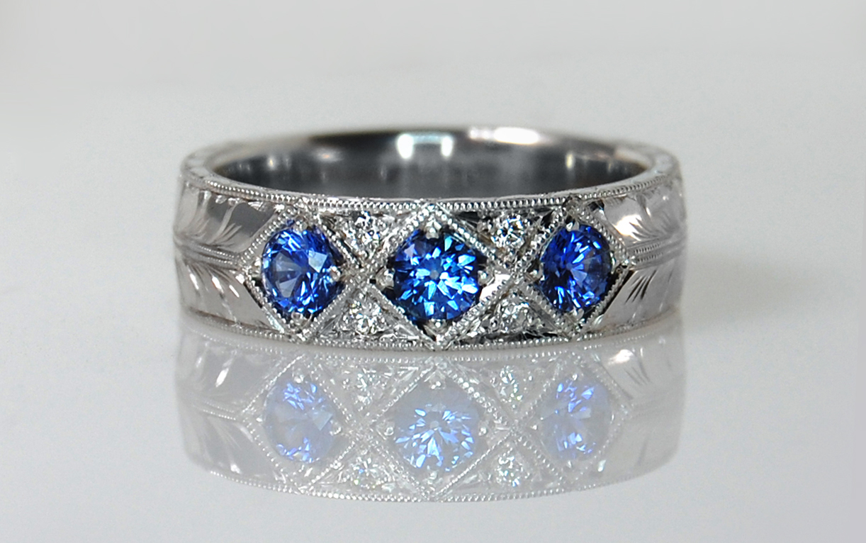 Hand Engraved Sapphire & Diamond Band