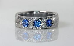 Hand Engraved Sapphire & Diamond Band