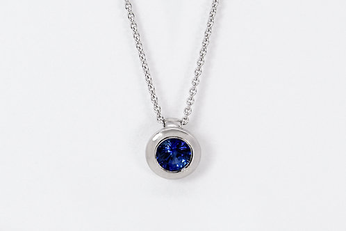 14KW Bezel Set Sapphire Pendant