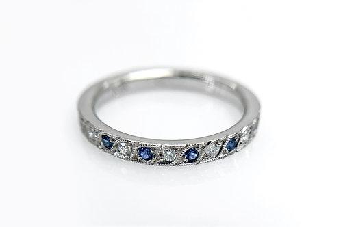 14KW Bead Set Diamond and Sapphire Band