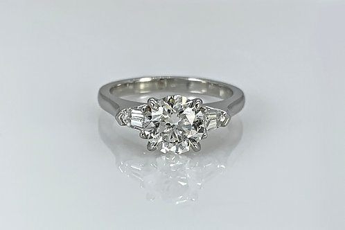 Platinum Diamond Engagement Ring with Bullet Baguette Side Stones
