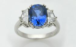 Hand Fabricated Oval Sapphire & Epaulette Diamonds