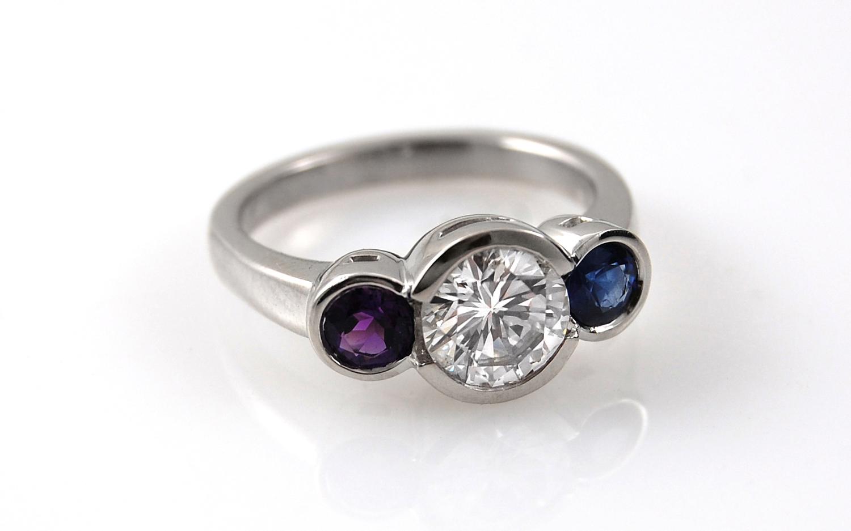 6.9mm Diamond with Birthstone Sides