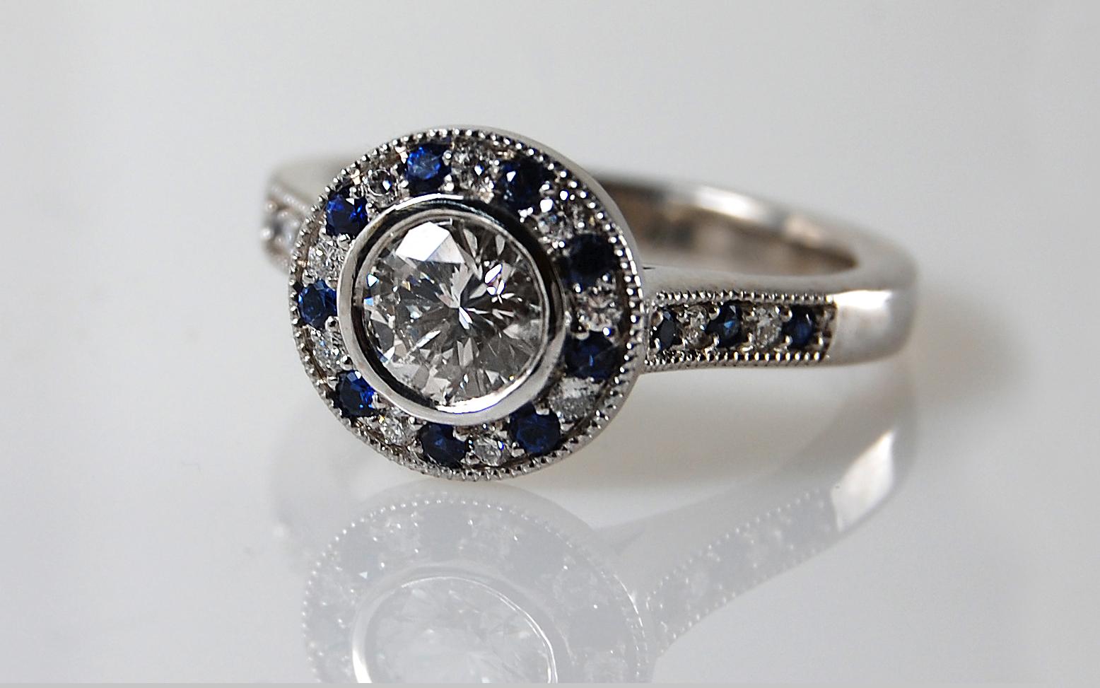 6mm Diamond with Sapphire & Diamond Halo