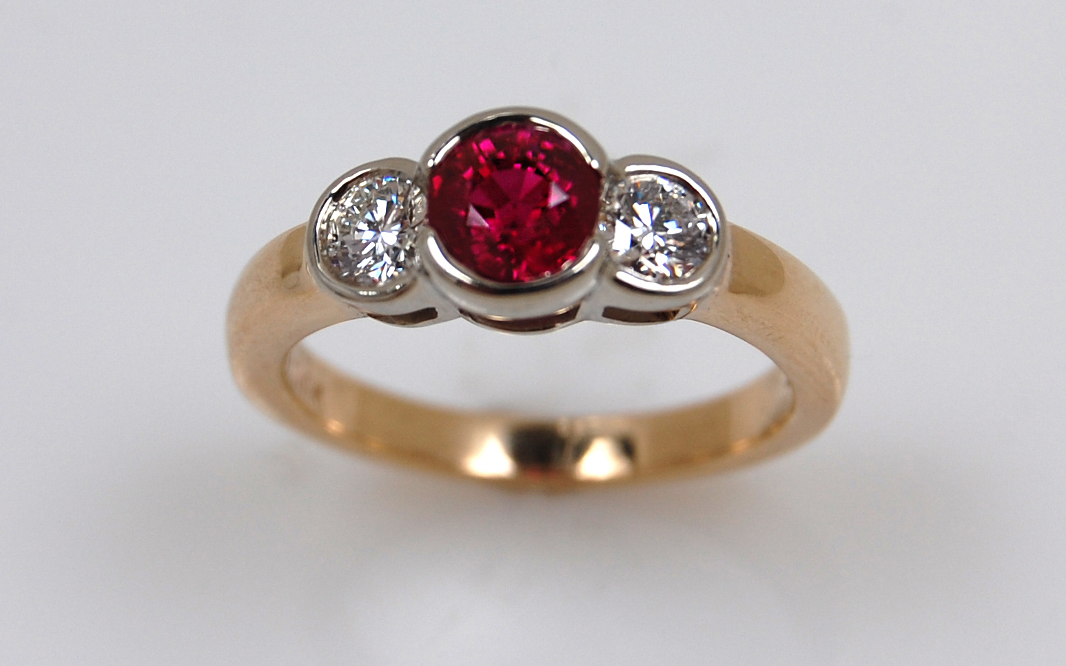 Two Tone Ruby & Diamond Bezel