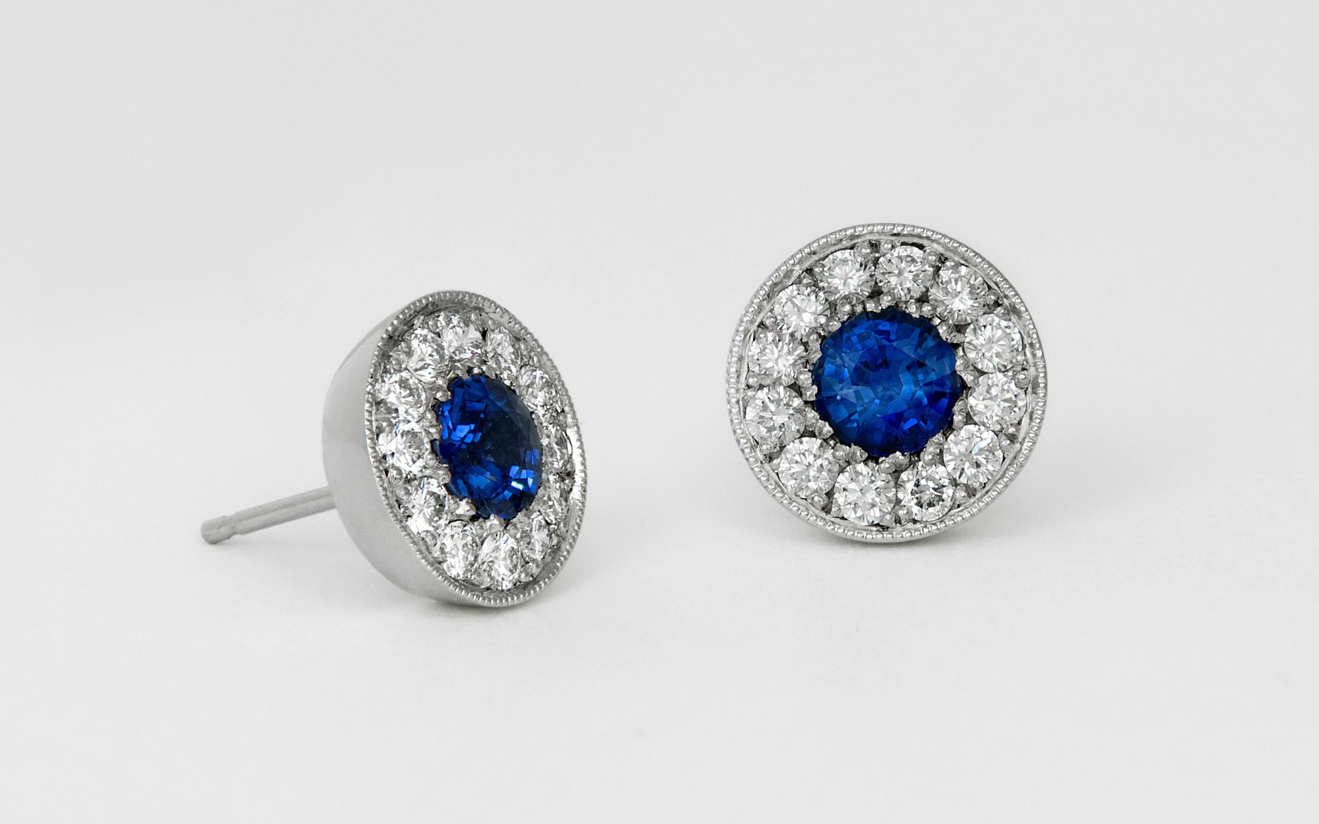 14KW Sapphire and Diamond Halo Earrings