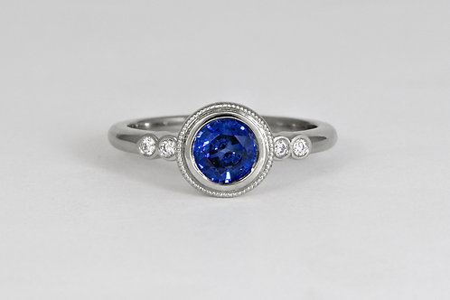 14KW Sapphire Bezel Ring with Diamonds