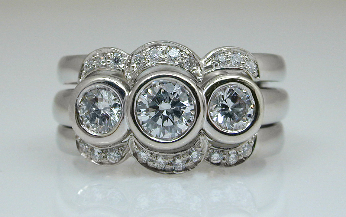 3 Stone Bezel with Custom Diamond Insert Band