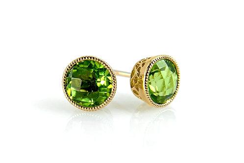 14KY Bezel Set Peridot Stud Earrings