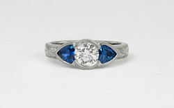 14K Diamond and Trillion Sapphire Hand Engraved Ring