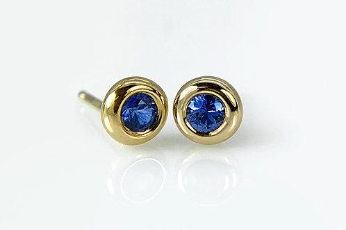 14KY Sapphire Doughnut Bezel Earrings