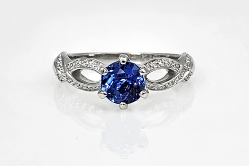14KW Unheated Sapphire and Diamond Ring