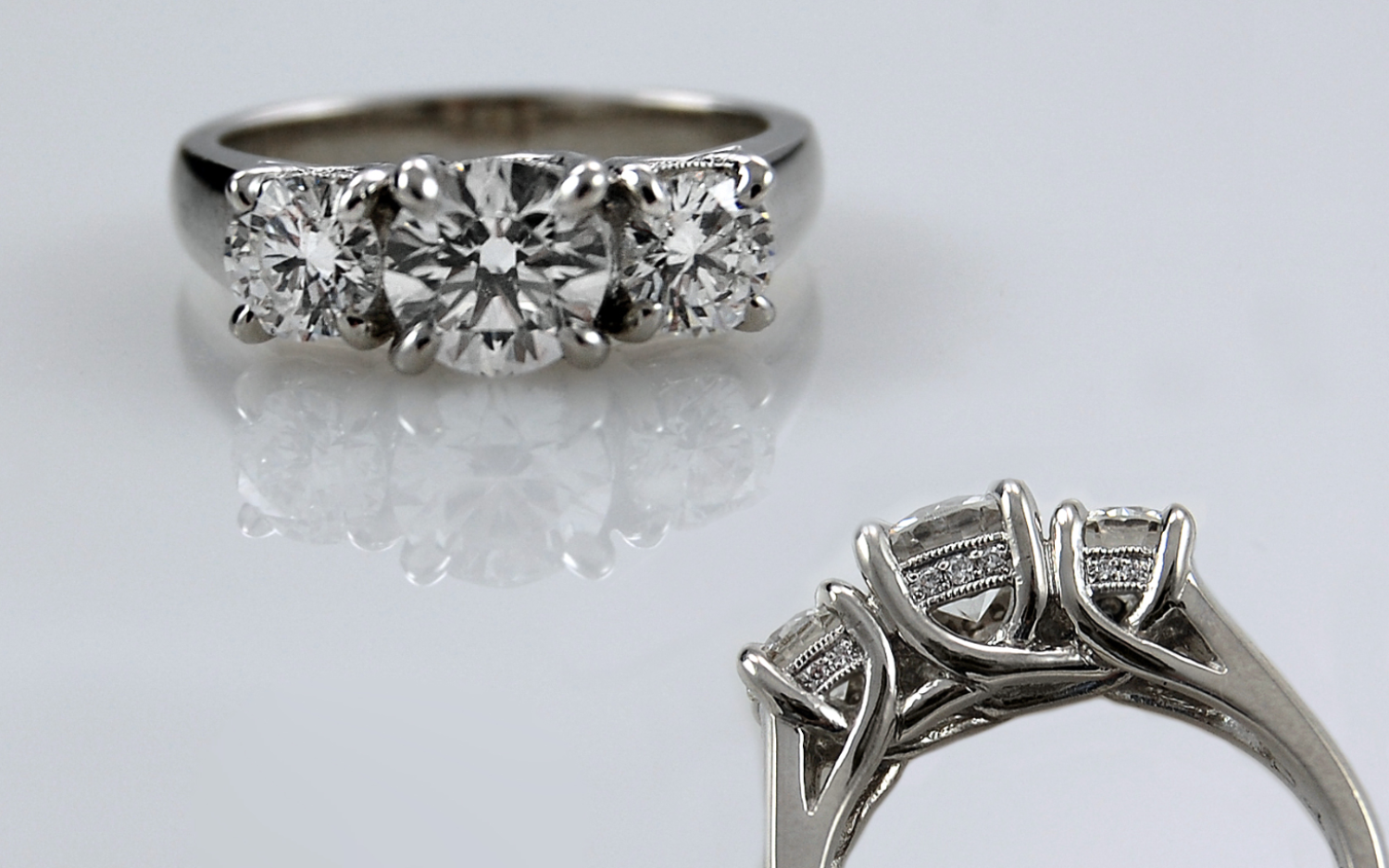Platinum 2 carat total Trellis Style with Diamond Accented Gallery Wires