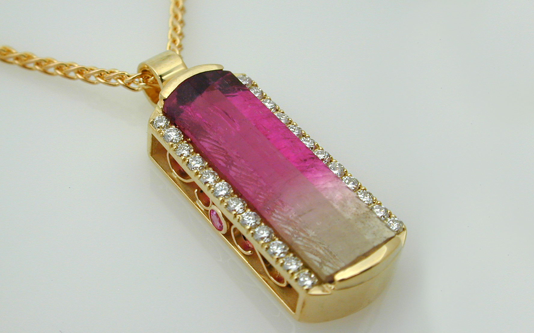 Bi Color Tourmaline & Diamond