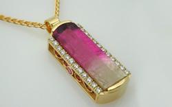 Bi Color Tourmaline & Diamond