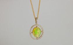 Ethiopian Opal and Diamond Halo Pendant