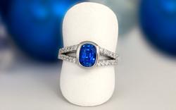 Split Shank Cushion Cut Sapphire and Diamond Ring
