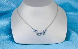 14KW Aquamarine, Sapphire and Diamond Bubble Pendant