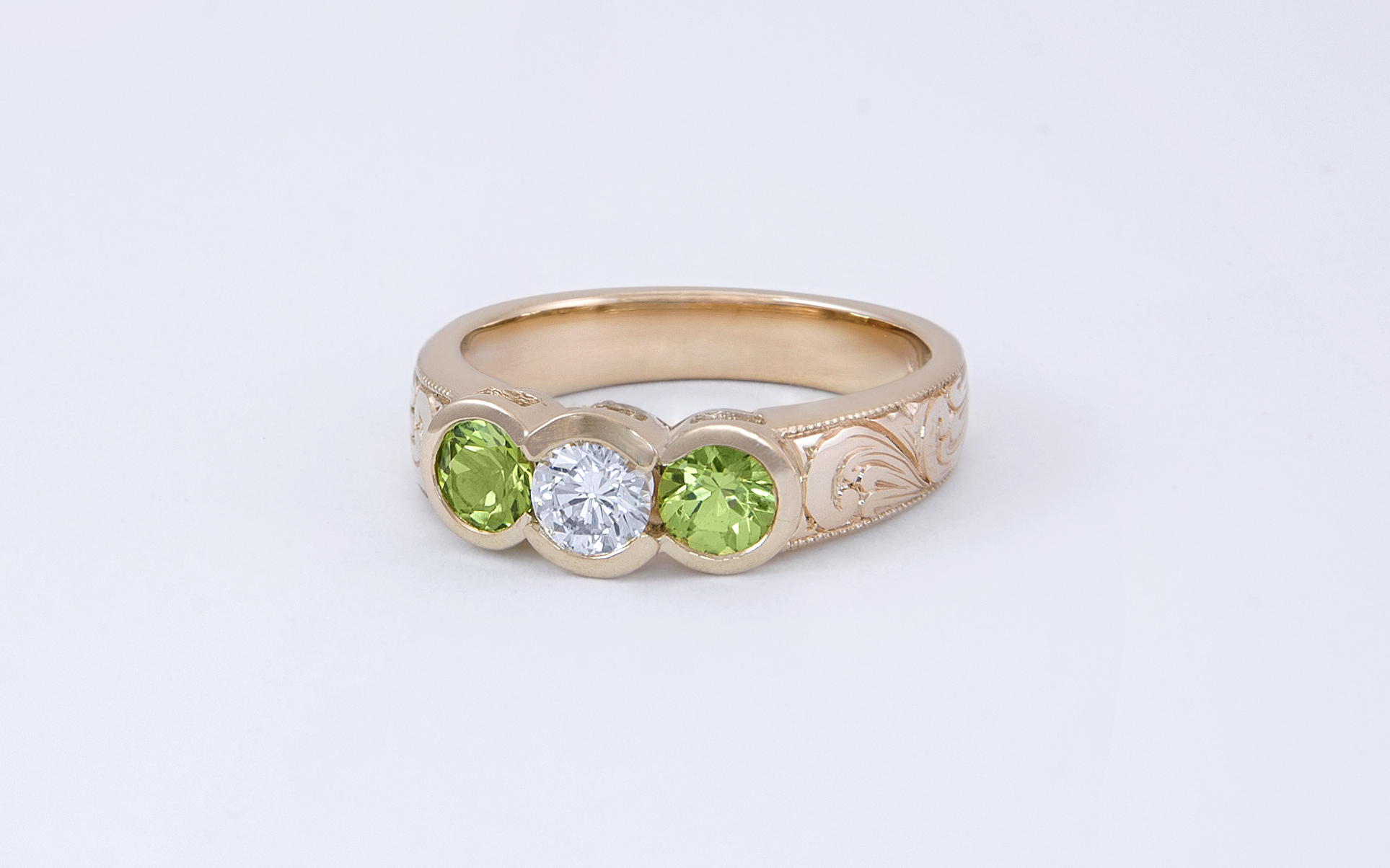 Hand Engraved Bezel Set Diamond & Peridot Ring
