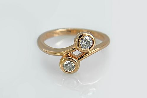 14KR Diamond Bypass Bezel Ring