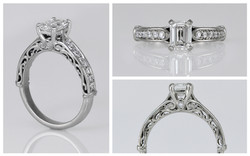 14K Custom Filigree Emerald Cut Diamond Engagement Ring