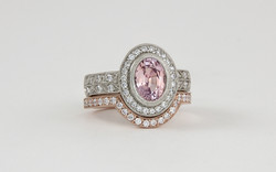 Pink Sapphire Halo with 14K Rose Gold Curved Shadow Band