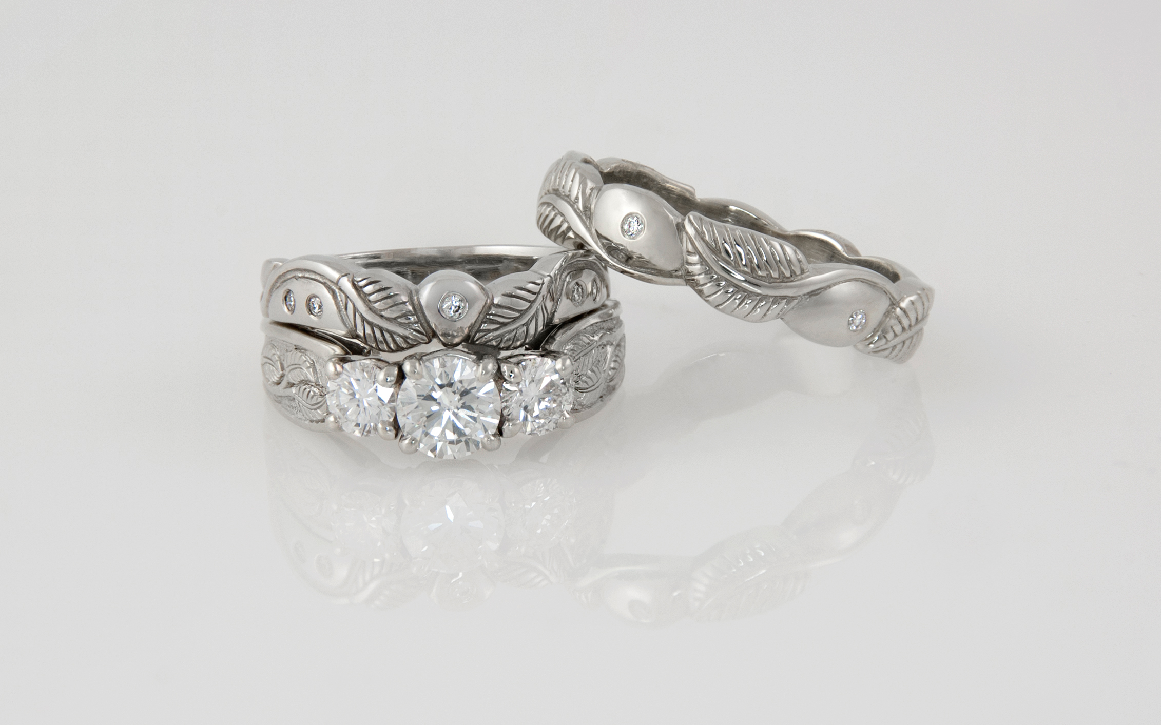 3 Stone Apple Leaf Design Engagement Ring With Matching Bands