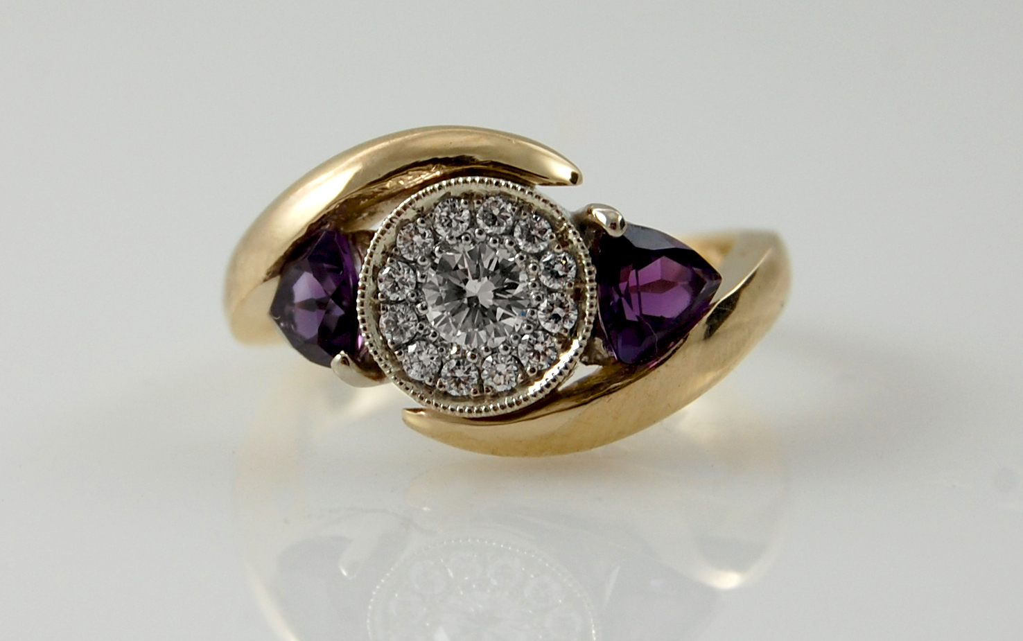 Diamond Halo & Trillion Amethyst Bi-Pass
