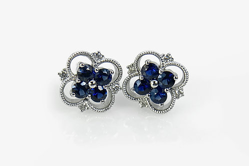 14KW Sapphire Cluster Style Earring with Diamond Accent