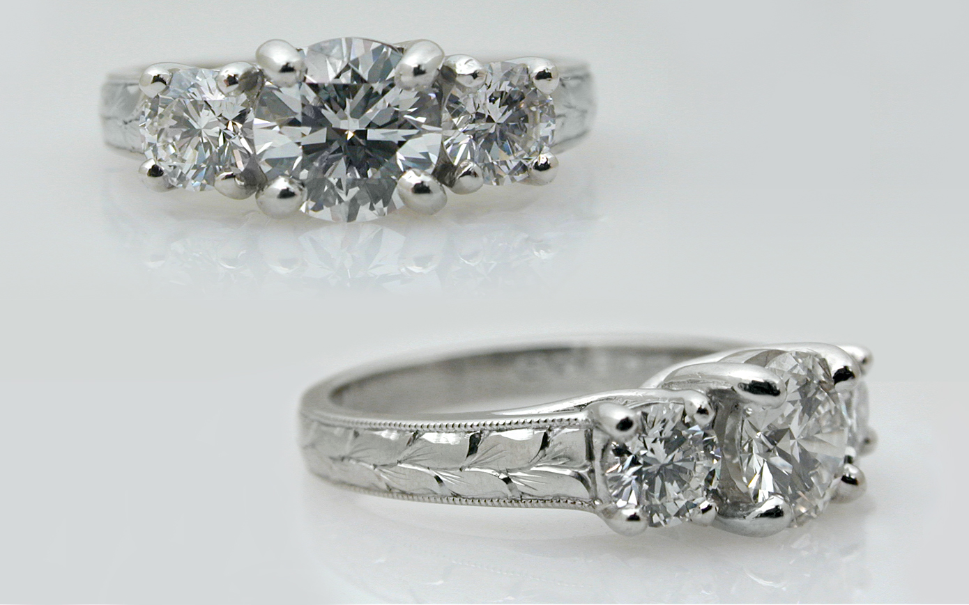 Hand Engraved 1.50 carat total 3 Stone