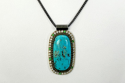 14KY and Sterling Silver Hand Fabricated Turquoise Pendant