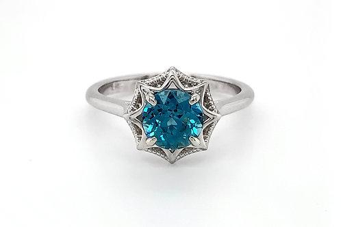 14KW Blue Zircon Ring with Milgrain Star Mounting