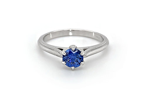 14KW Sapphire Ring with Milgrain Band