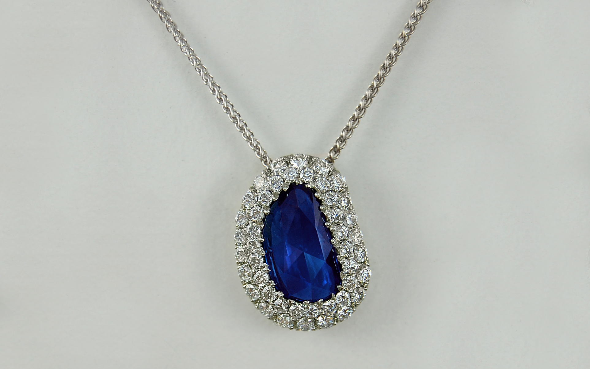 Rose Cut Sapphire & Double Row Diamond Halo