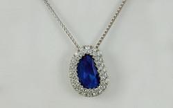Rose Cut Sapphire & Double Row Diamond Halo