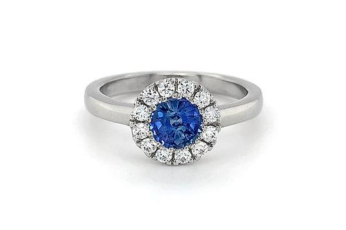 14KW Sapphire Ring with Diamond Halo