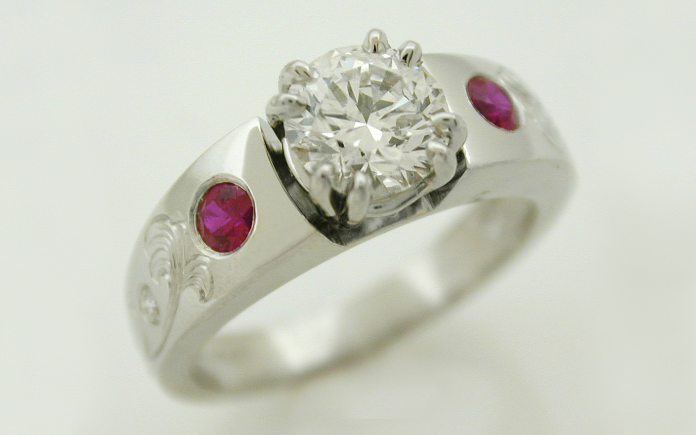 1 carat with Hand Engraved & Ruby Rose
