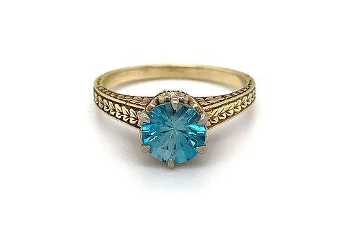 *ESTATE* 14KY Blue Zircon Ring