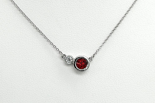 14KW Ruby and Diamond Bezel Pendant