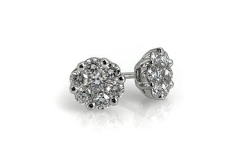 14KW Diamond Cluster Stud Earrings