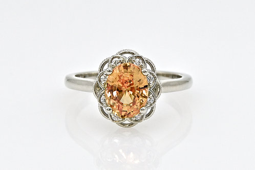 14KW Unheated Peach Sapphire and Diamond Ring